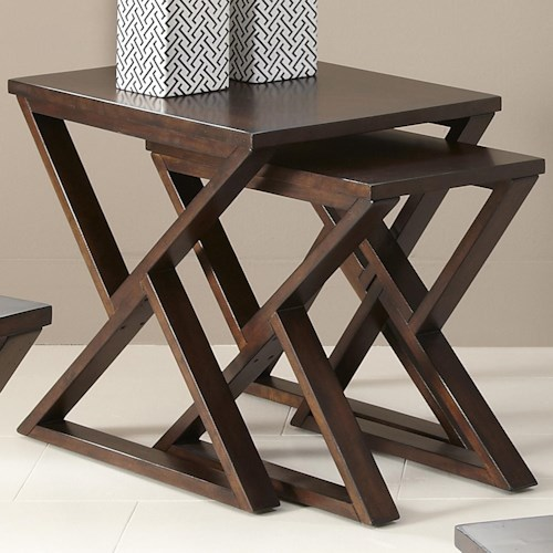 Vendor 5349 Madison 2 Piece Nesting End Table with Triangular Shaped Legs