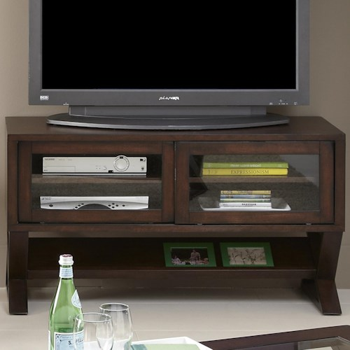 Liberty Furniture Madison Media Console with Sliding Glass Doors and Angled Shelf