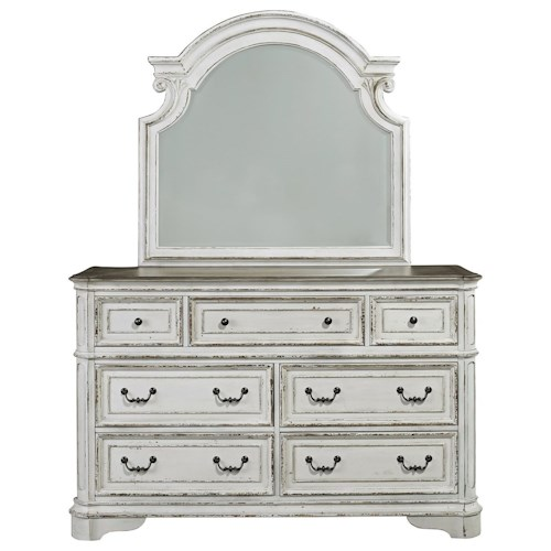 Liberty Furniture Magnolia Manor 7 Drawer Dresser and Mirror with Wood Frame