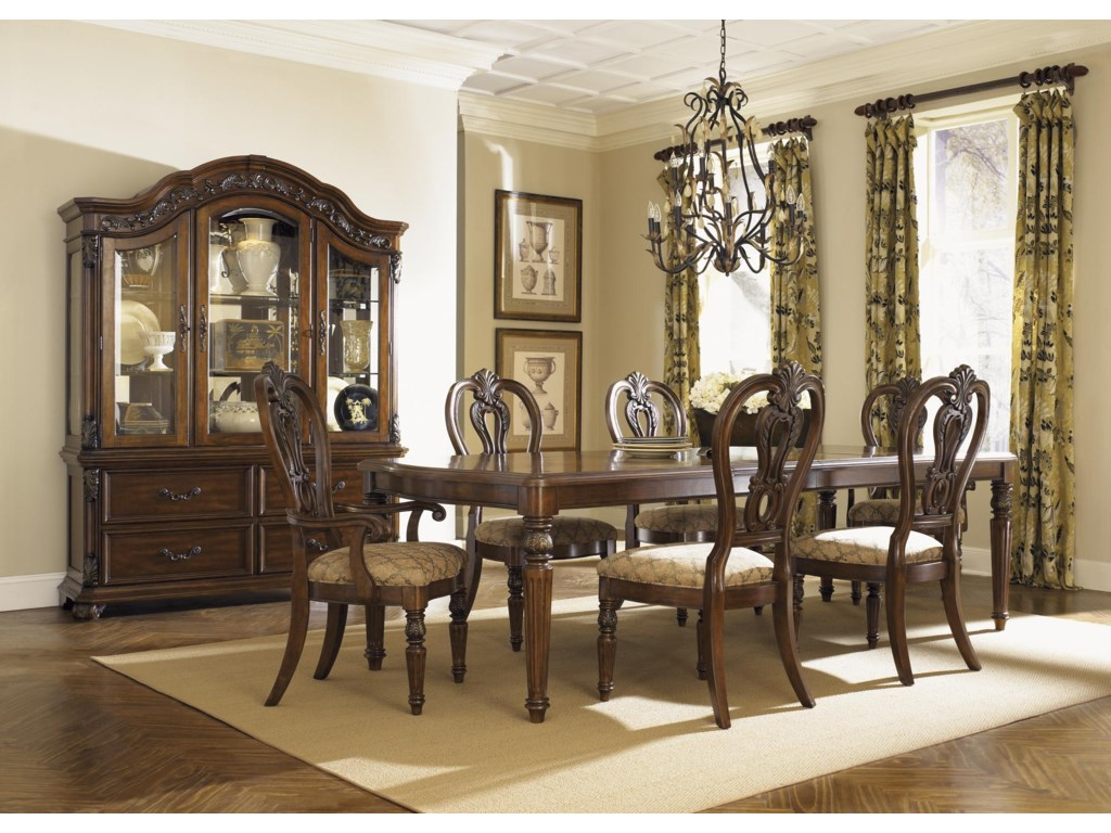 Shown with Hutch, Dining Table, and Chairs