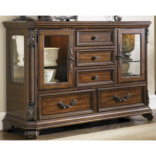 Liberty Furniture Messina Estates Glass Door Buffet Dining Server