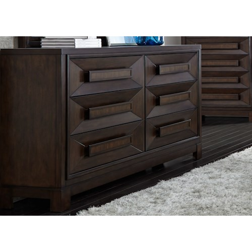 Liberty Furniture Midtown Bedroom Contemporary 6 Drawer Dresser with Chamfered Drawer Fronts