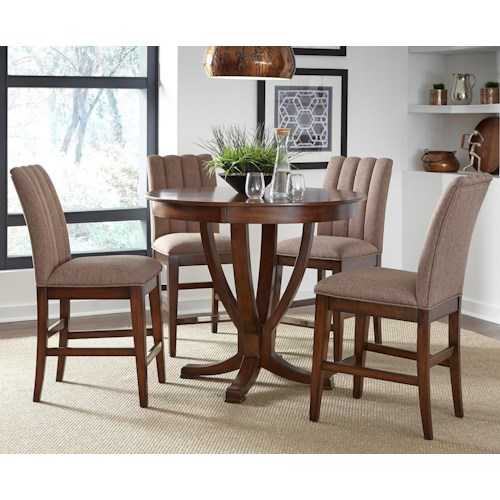 Liberty Furniture Mirage Dining 5 Piece Gathering Table Set  with Upholstered Stools
