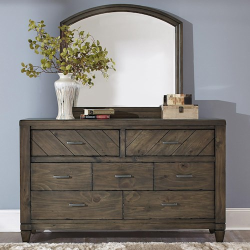 Vendor 5349 Modern Country Casual Rustic 7 Drawer Dresser and Mirror