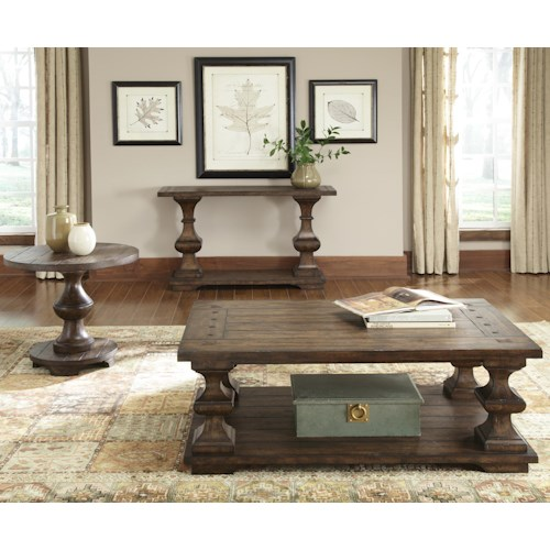 Liberty Furniture Sedona 3 Piece Occasional Table Group with Cockatil Table and Sofa Table and End Table