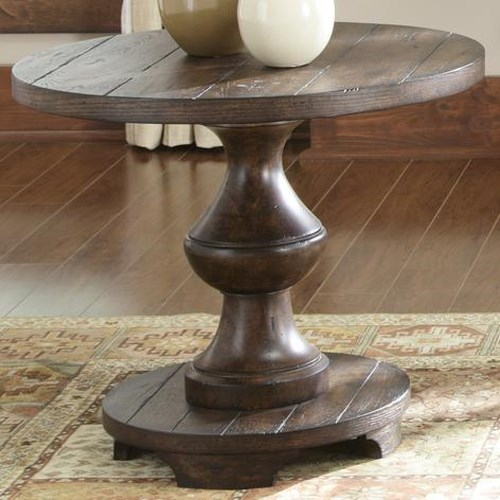 Vendor 5349 Sedona Round End Table with Turned Legs and Base