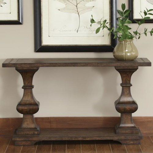 Liberty Furniture Sedona Rectangular Sofa Table with Bottom Shelf and Turned Legs