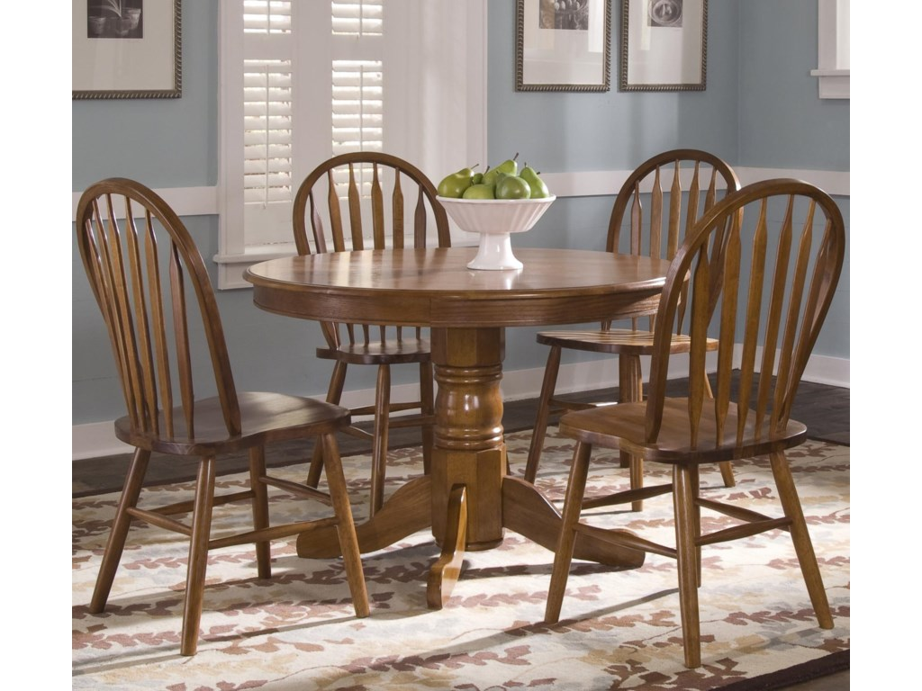 Arrow Back Windsor Side Chair Shown with Round Pedestal Table