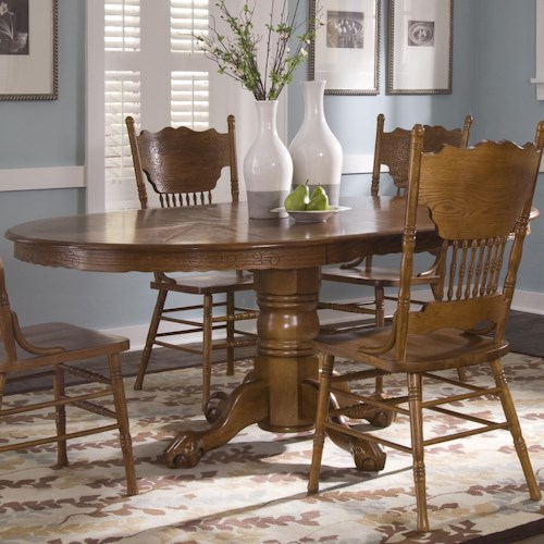 Liberty Furniture Nostalgia  Oval Single Pedestal Dinner Table