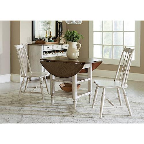 Vendor 5349 Oak Hill Dining 3 Piece Drop Leaf Table Set