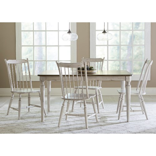 Liberty Furniture Oak Hill Dining 5 Piece Rectangular Table Set