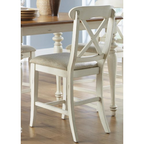 Vendor 5349 Ocean Isle  X-Back Counter Height Dining Chair with Upholstered Seat