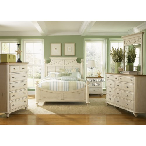 Vendor 5349 Ocean Isle  Queen Poster Bed, Dresser & Mirror, Chest