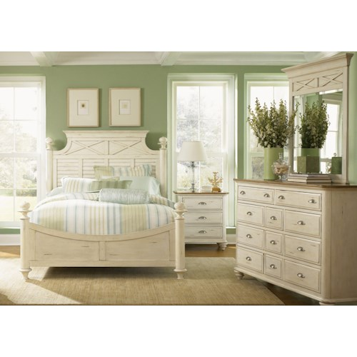 Liberty Furniture Ocean Isle  King Poster Bed, Dresser, Mirror, & Nightstand