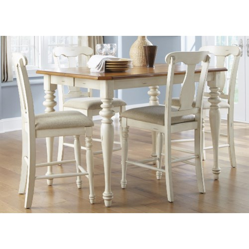 Liberty Furniture Ocean Isle  5-Piece Gathering Height Table and Counter Stool Dining Set