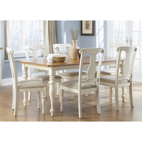 Liberty Furniture Ocean Isle  7-Piece Rectangular Table and Chair Dining Set