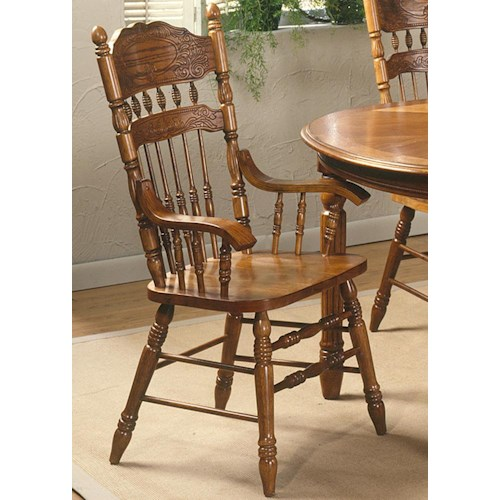Liberty Furniture Old World Casual Dining Embossed Back Arm Chair with Turned Legs