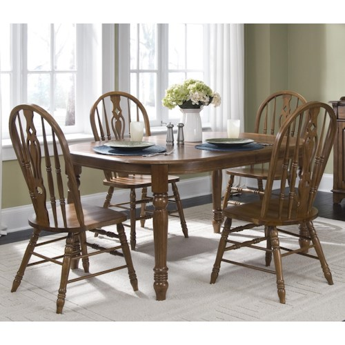 Liberty Furniture Old World Casual Dining Five Piece Oval Table Dining Set