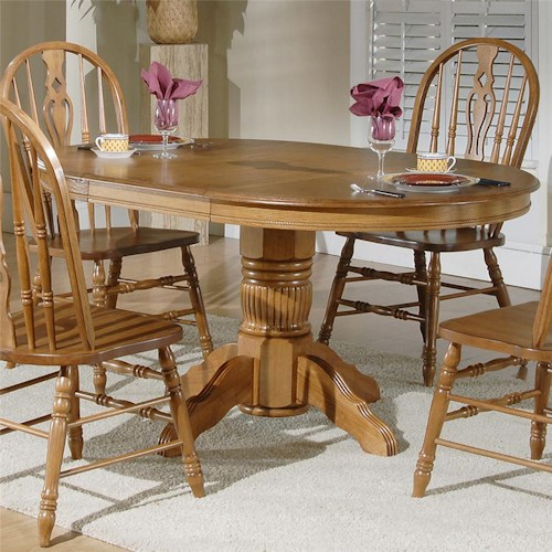 Liberty Furniture Old World Casual Dining Oval Pedestal Table