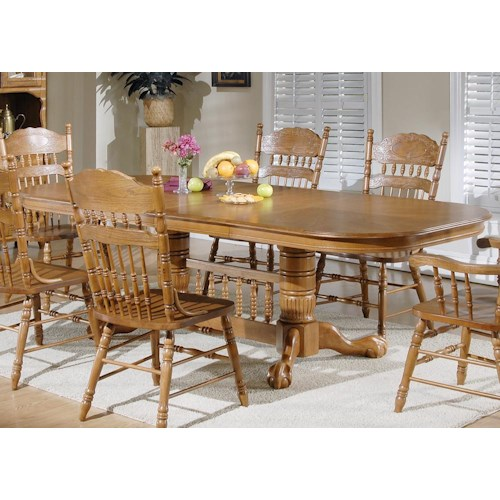 Vendor 5349 Old World Casual Dining 7 Pc. Double Pedestal Table with 2 Arm Chairs & 4 Side Chairs