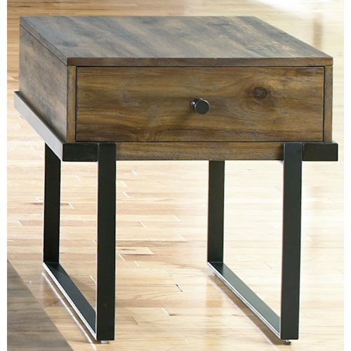 Liberty Furniture Paxton Contemporary End Table with Floating Design and Metal Base