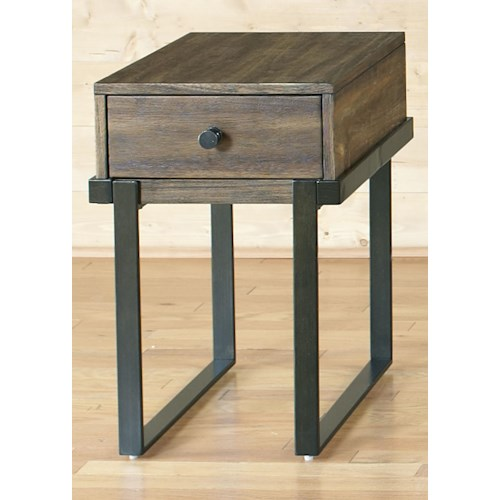 Liberty Furniture Paxton Contemporary Chair Side Table with Floating Design and Metal Base