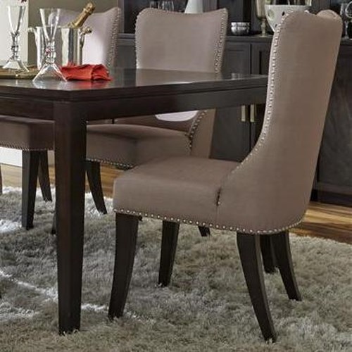 Vendor 5349 Platinum Contemporary Side Chair with Nailhead Trim