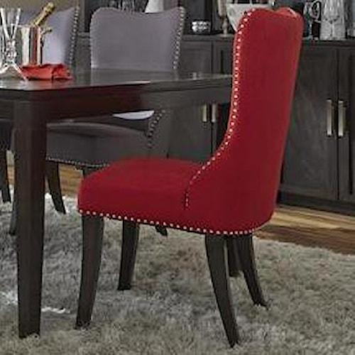 Vendor 5349 Platinum Contemporary Side Chair with Nailhead Trim
