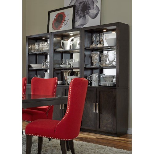 Vendor 5349 Platinum Contemporary Mirrored Back Dining Wall Unit with Touch Lighting