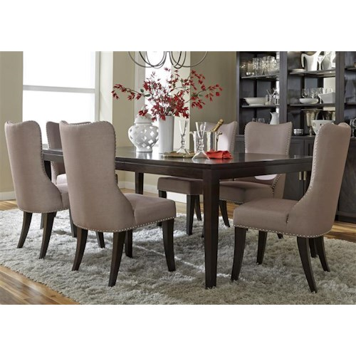 Vendor 5349 Platinum Contemporary Leg Table and 6 Side Chair Set