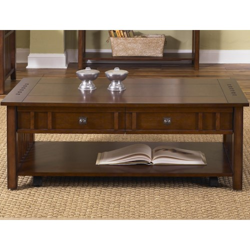 Liberty Furniture Prairie Hills Rectangular Cocktail Table with 2 Drawers & Inlay Shelf
