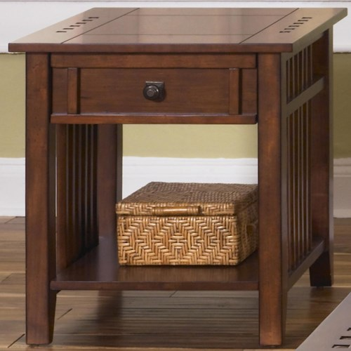 Vendor 5349 Prairie Hills End Table with Bottom Shelf