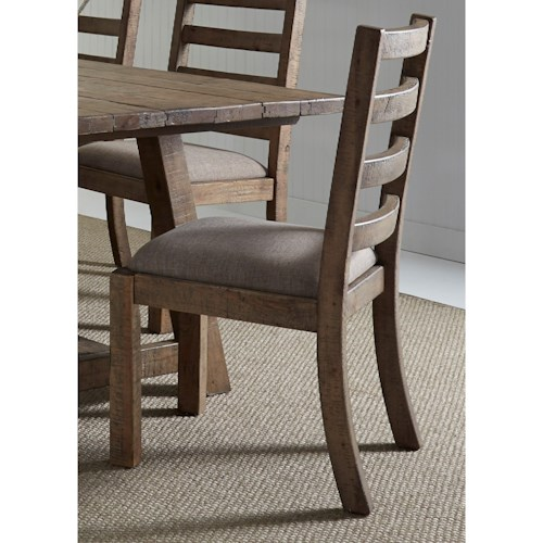 Vendor 5349 Prescott Valley Dining Ladder Back Side Chair with Upholstered Seat