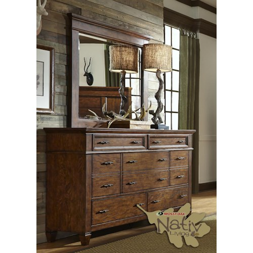 Liberty Furniture Rocky Mountain 616 Dresser with Seven Dovetail Drawers & Mirror with Wood Frame