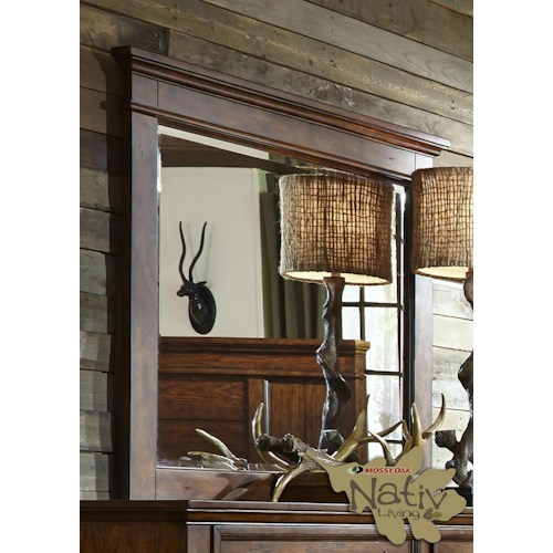 Liberty Furniture Rocky Mountain 616 Mirror with Beveled Glass and Wood Frame