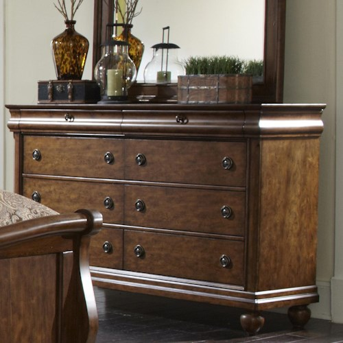 Liberty Furniture Rustic Traditions Eight-Drawer Dresser with Antique Brass Hardware