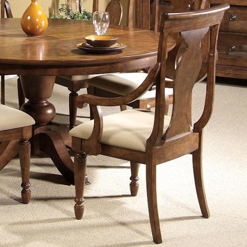 Vendor 5349 Rustic Traditions Splat Back Arm Chair with Upholstered Seat