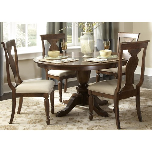 Vendor 5349 Rustic Traditions Five-Piece Oval Table and Chair Dining Set