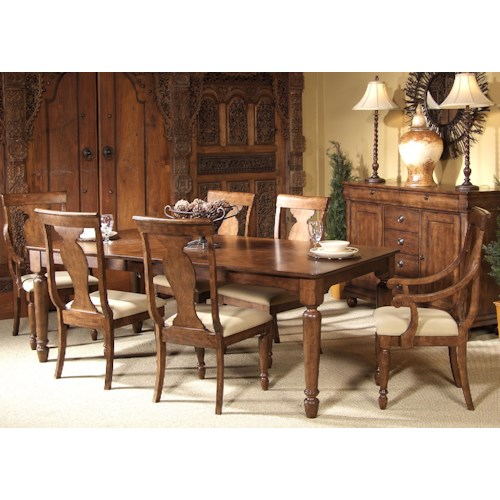 Liberty Furniture Rustic Traditions Seven-Piece Rectangular Table and Chair Dining Set