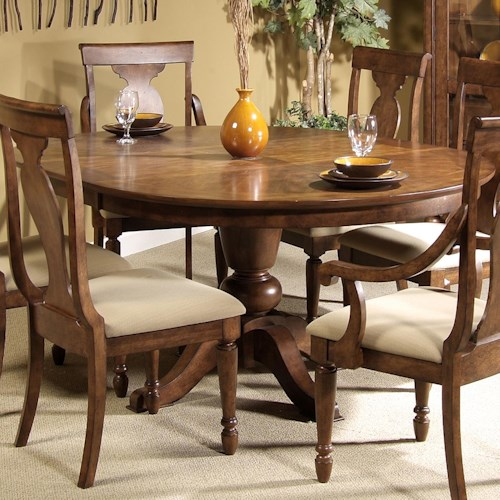Vendor 5349 Rustic Traditions Oval Single Pedestal Dining Table