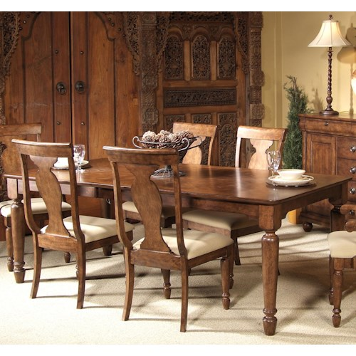 Liberty Furniture Rustic Traditions Rectangular Leg Dining Table with Leaf
