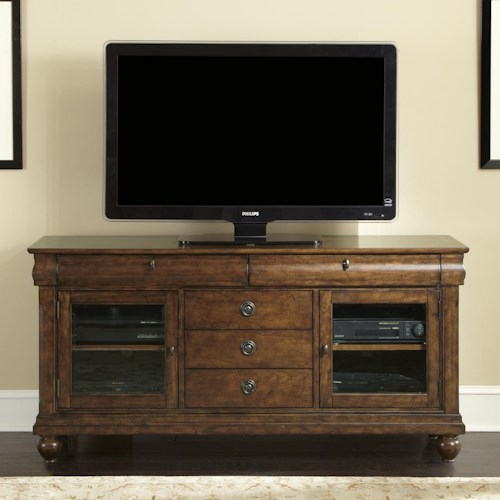 Liberty Furniture Rustic Traditions Entertainment TV Stand with Drawer and Cabinet Storage