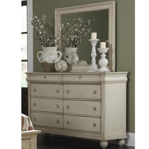 Vendor 5349 Rustic Traditions Eight-Drawer Dresser with Wood-Framed Landscape Mirror