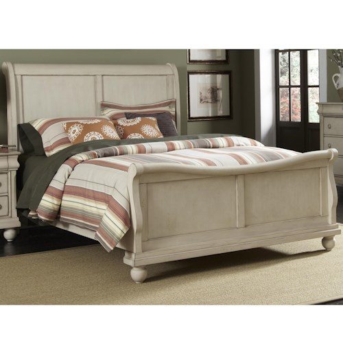 Liberty Furniture Rustic Traditions King Sleigh Bed Set with Bun Feet