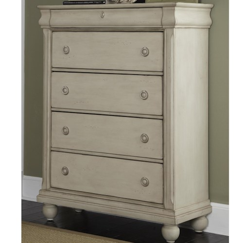 Liberty Furniture Rustic Traditions Five-Drawer Chest with Antique Brass Hardware