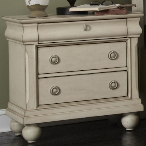 Vendor 5349 Rustic Traditions Three-Drawer Nightstand with Antique Brass Hardware