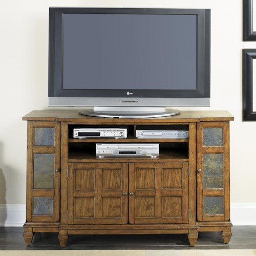 Liberty Furniture Sante Fe 4 Door TV Entertainment Console with Slate Tile