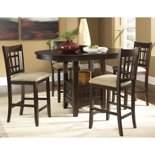 Liberty Furniture Santa Rosa Oval Pub Table & 24 Inch Upholstered Bar Stool Set