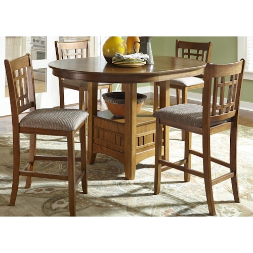 Liberty Furniture Santa Rosa 5-Piece Upholstered Bar Stool and Pub Table Set