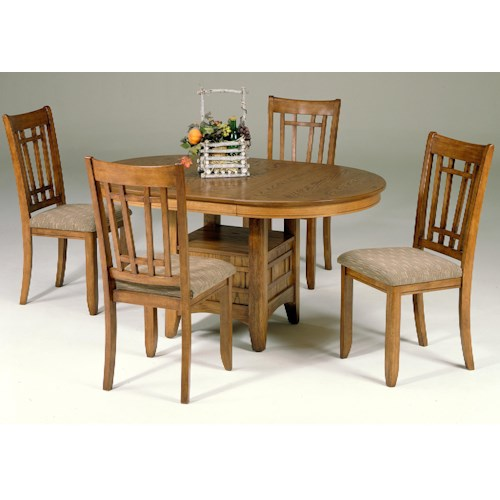 Vendor 5349 Santa Rosa 5-Piece Pedestal Table Set w/ 4 Mission Side Chairs